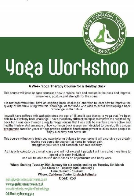 Meni Yoga six week course for Healthy Backs…