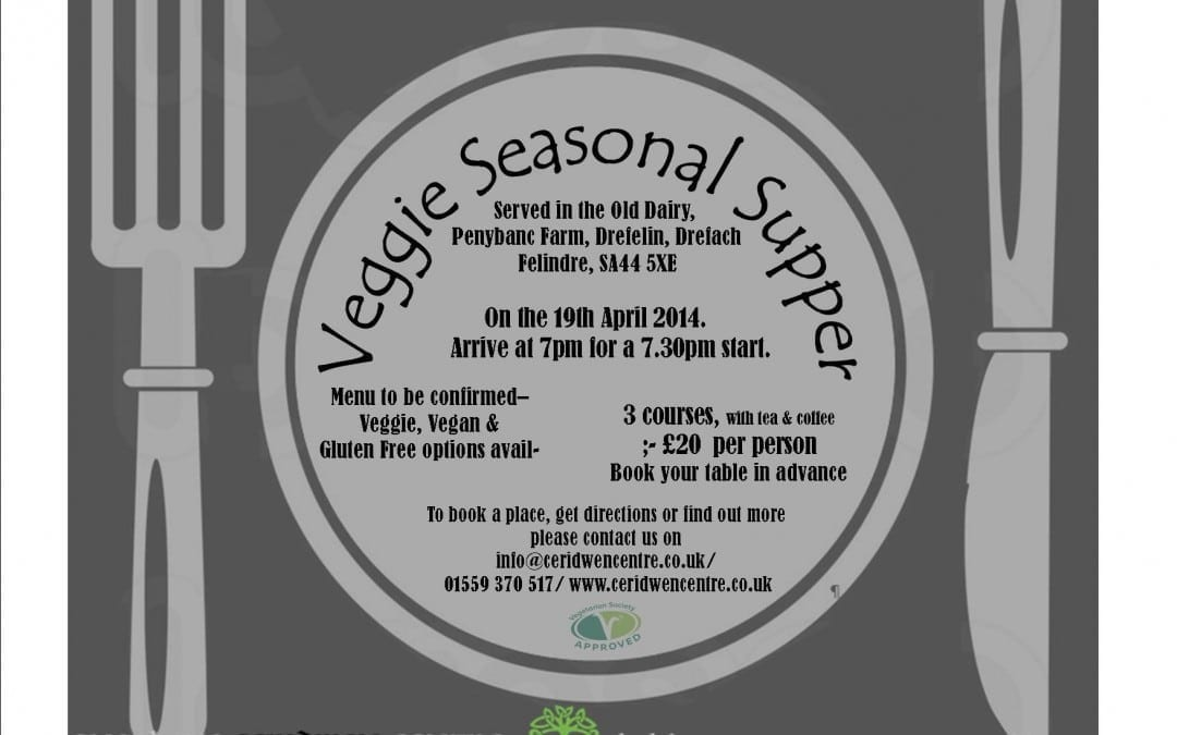 Veggie Seasonal Supper, 19th April- BOOK NOW!