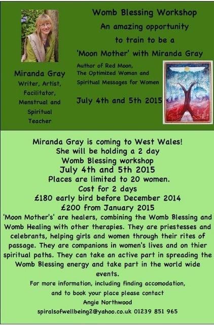 Womb Blessing Workshop, 4th & 5th July 2015