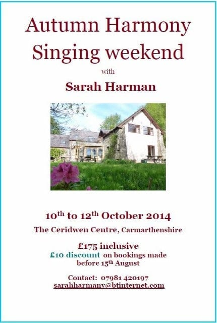 Autumn Harmony Singing Weekend