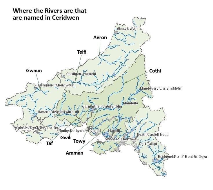 Welsh River Names in Ceridwen