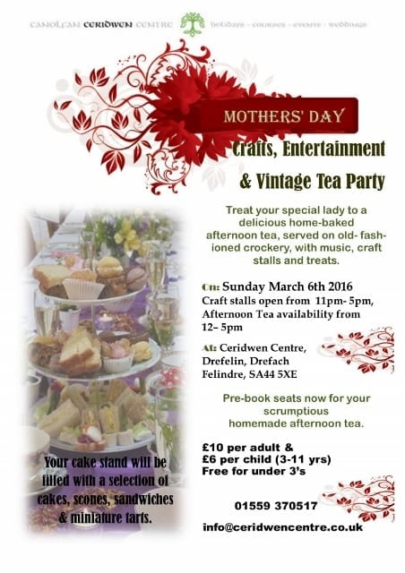 Mothers' Day vintage tea Party March 6th, taking bookings NOW!