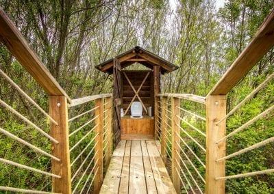 Bryn Helyg Yurt bridge to compost toilet