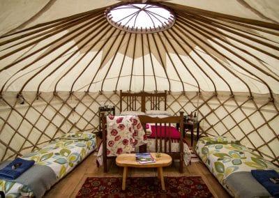 Derwen Yurt inside