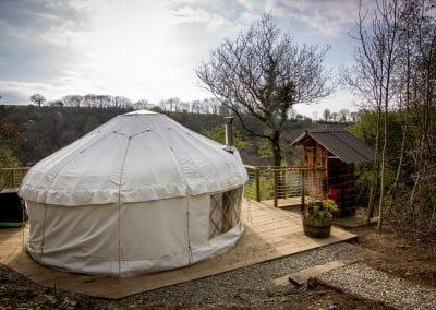 Derwen Yurt on the deck