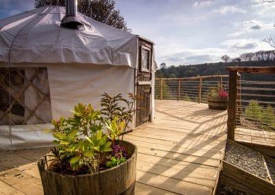 Derwen Yurt on the deck2