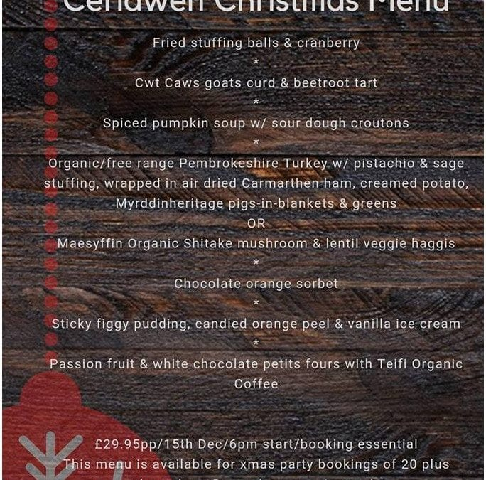 Christmas meals at Ceridwen – Dec 15 or any date for parties of 20+