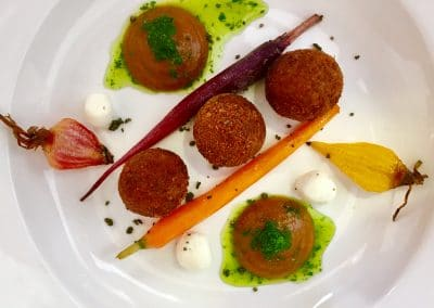 Spiced veggie bonbons with curried ketchup
