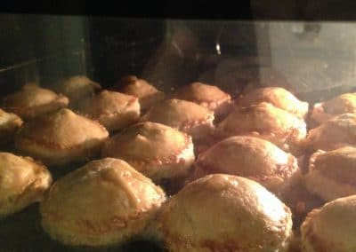 Veggie pies baking in the oven